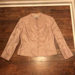 Adrianna Papell Light Pink Silk Blazer